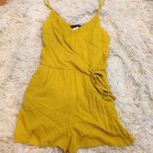 Yellow Tank Romper with Tie in Front